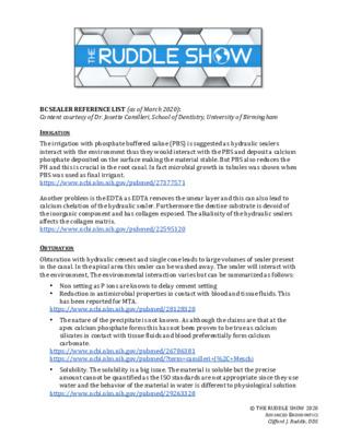 Ruddle Reference Listing re: BC Sealer
