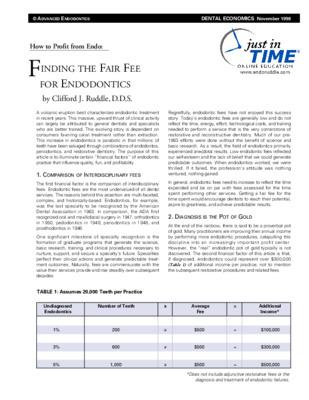 Finding the Fair Fee for Endodontics