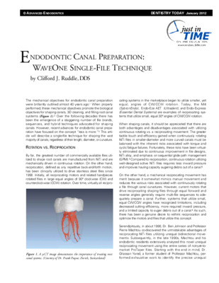 """Endodontic Canal Preparation: WaveOne Single-File Technique"""