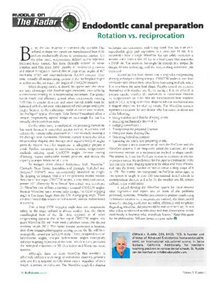 """""""Endo Canal Prep: Rotation vs. Reciprocation"""""""