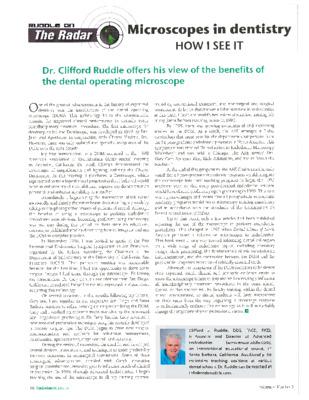 """Ruddle on the Radar: Microscopes in Dentistry"""
